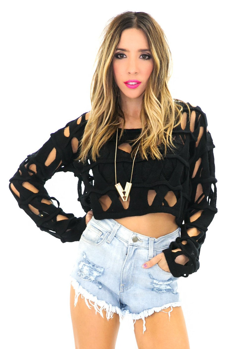 BECKET HOLED CROP SWEATER - Black - Haute & Rebellious