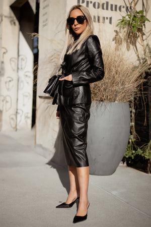 Leather Midi Skirt with Waist-Tie