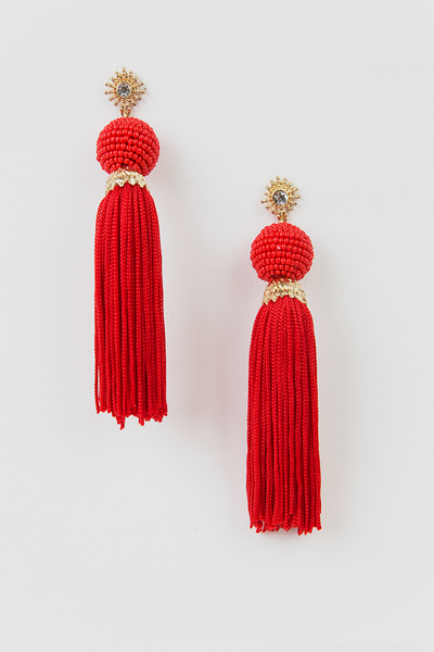 Tassel Earrings with Beaded Ball - Red