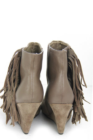 FRINGE ANKLE BOOT - Tan - Haute & Rebellious