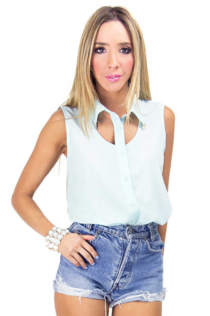 CUTOUT CHIFFON BLOUSE - Mint (Final Sale)