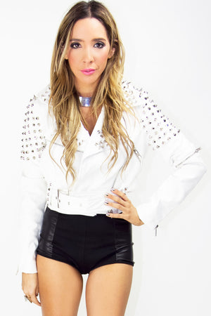 STUDDED MOTO CROP JACKET - Haute & Rebellious