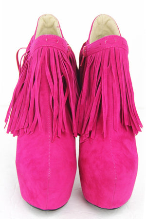 FRINGE GOLD PLATED HEEL - Pink - Haute & Rebellious