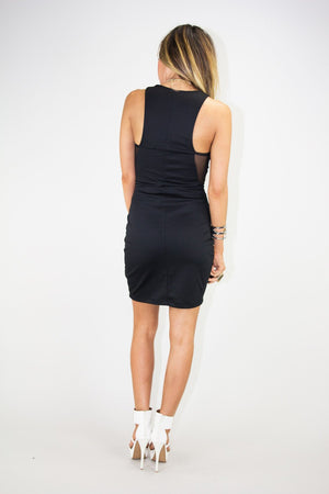 EMBOSSED BODYCON CONTRAST MESH DRESS - Haute & Rebellious