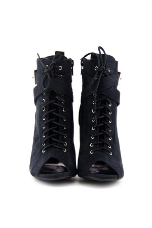 MAISON LACE UP BOOTIE - Black - Haute & Rebellious