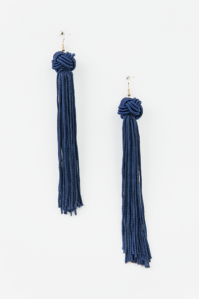 Long Tassel Earrings with Knot Ball - Navy