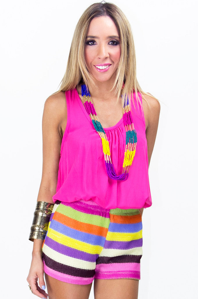 PINK COMBO STRIPED SHORTS - Haute & Rebellious