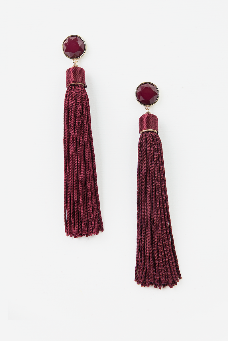 Long Tassel Earrings - Maroon - Haute & Rebellious