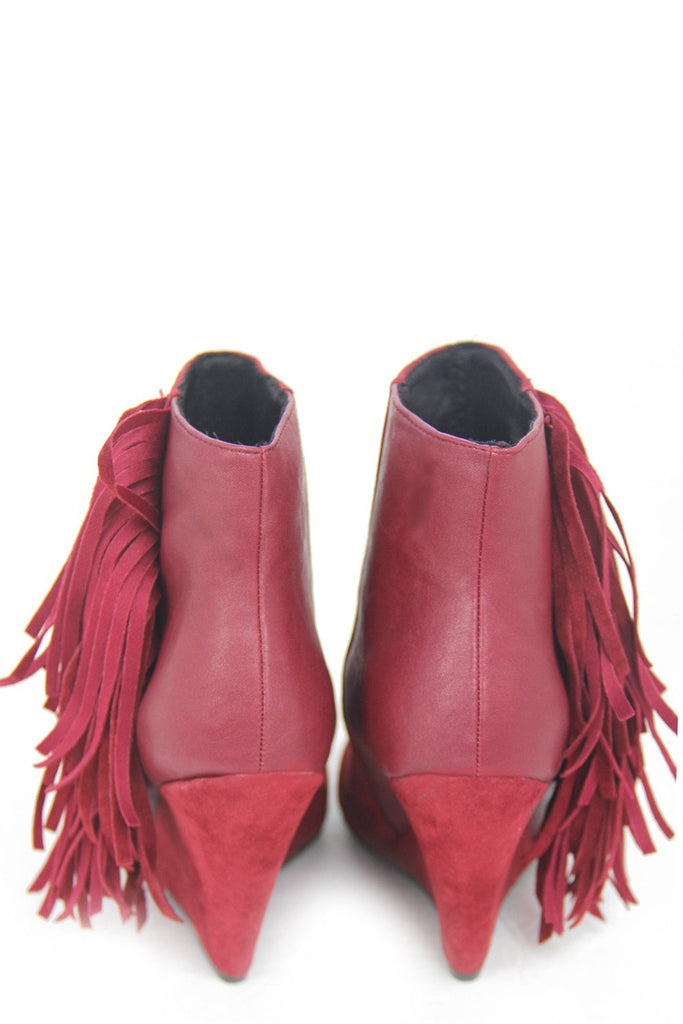 FRINGE ANKLE BOOT - Red