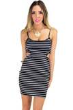 CUTOUT NAUTICAL STRIPE BODYCON DRESS - Haute & Rebellious