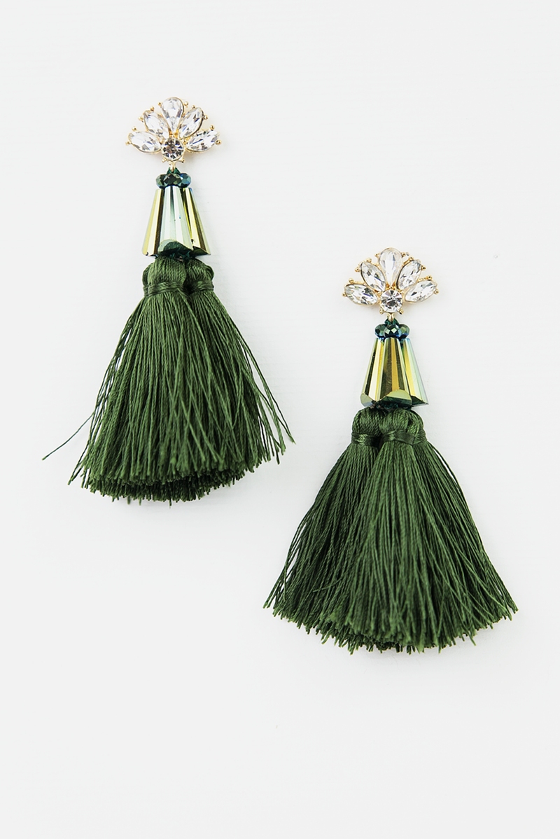 Crystal Tassel Earrings - Haute & Rebellious