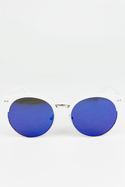 Road Ahead Reflective Sunglasses - White/Blue
