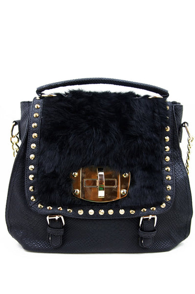 FAUX FUR STUDDED SHOULDER BAG - Haute & Rebellious