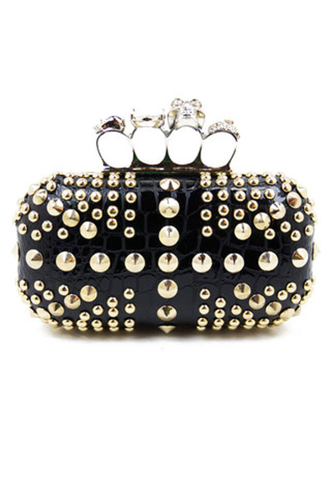 STUDDED KNUCKLE CLUTCH - Black