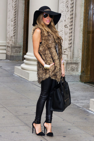 OVERSIZED FAUX FUR VEST - Brown - Haute & Rebellious