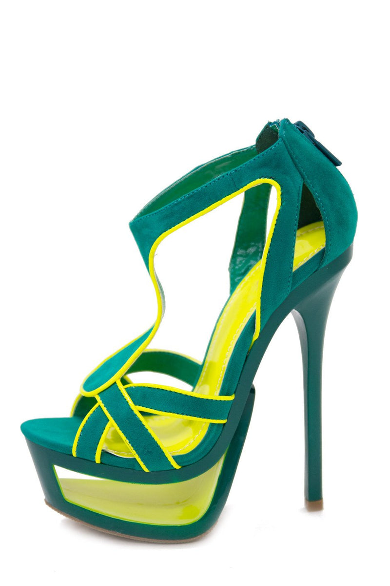 JENNA CUTOUT PLATFORM HEEL - Green/Neon Lime (Final Sale) - Haute & Rebellious