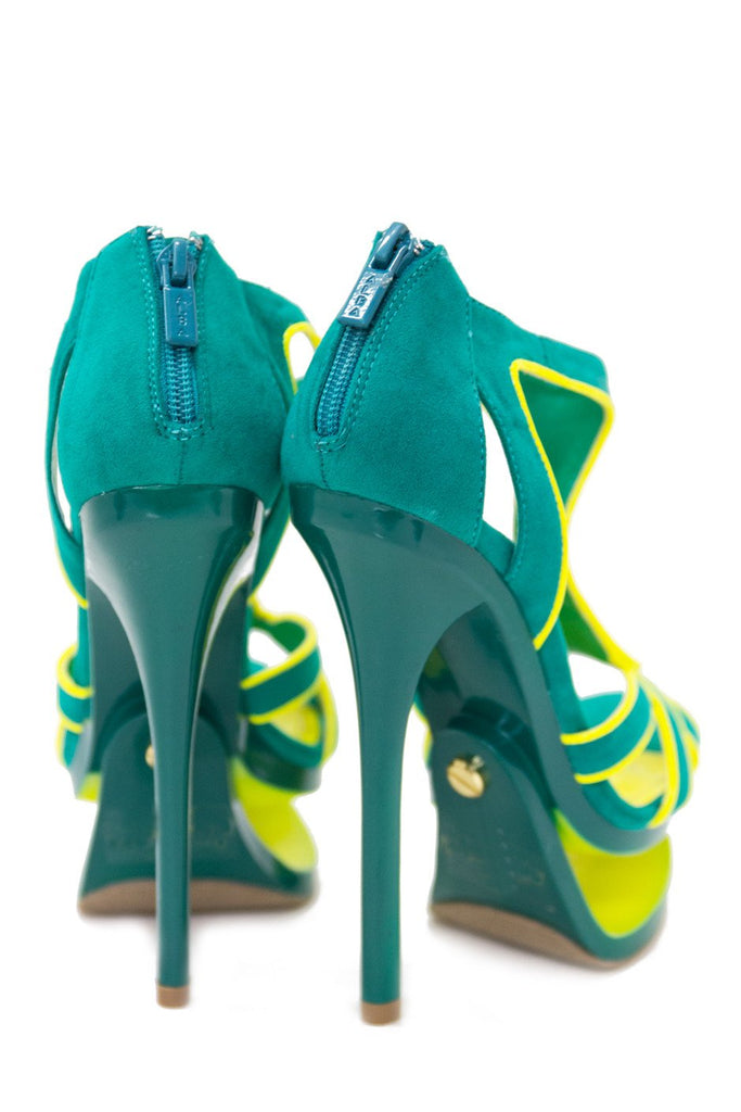 JENNA CUTOUT PLATFORM HEEL - Green/Neon Lime (Final Sale)