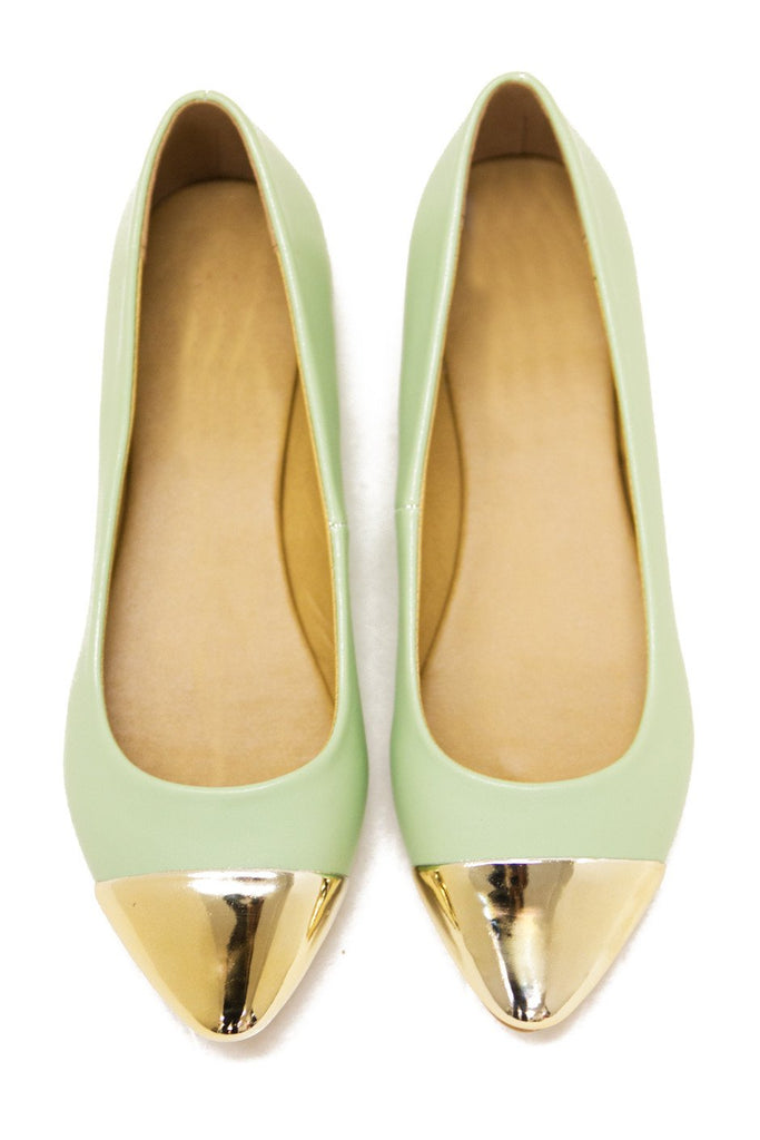 GOLD PLATED TOE FLAT - Mint - Haute & Rebellious
