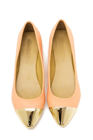 GOLD PLATED TOE FLAT - Peach - Haute & Rebellious