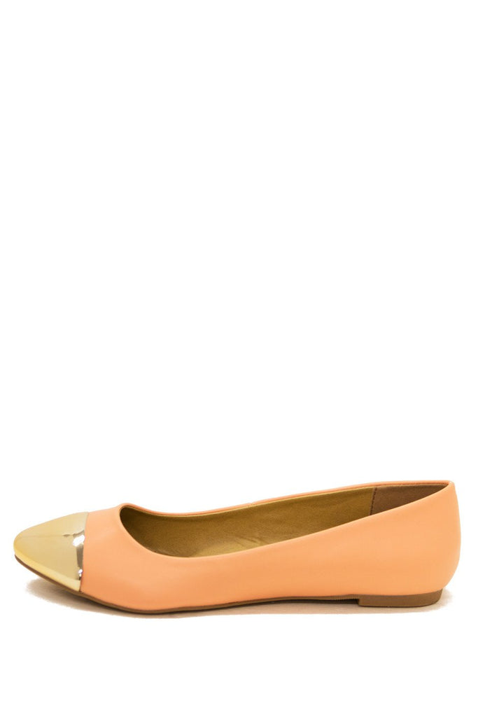 GOLD PLATED TOE FLAT - Peach