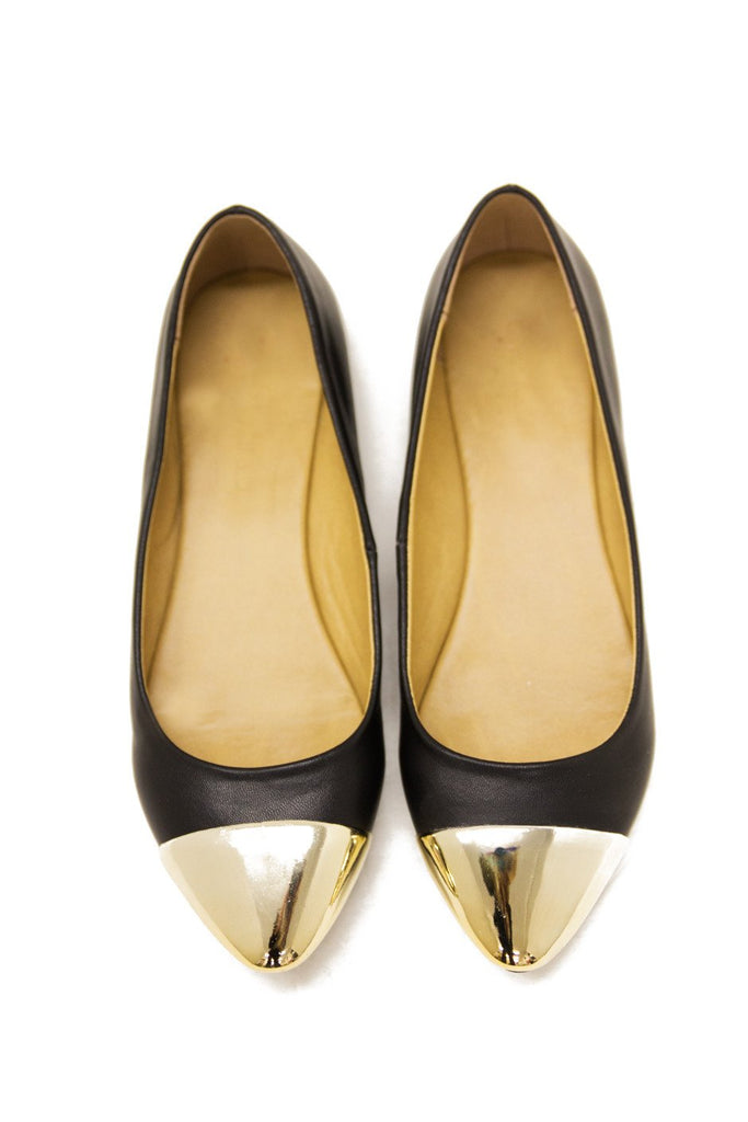 GOLD PLATED TOE FLAT - Black - Haute & Rebellious