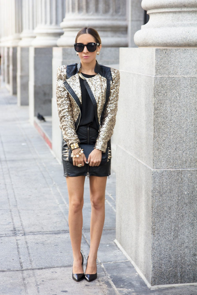 GOLD SEQUIN JACKET WITH LEATHER PATCHES