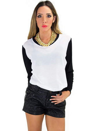 FISHNET SELF JERSEY SLEEVE CONTRAST TOP - Haute & Rebellious