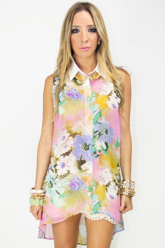 FLORAL HIGH LOW BLOUSE