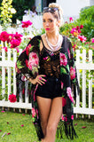 FRINGED CHIFFON CARDIGAN - Rose Print
