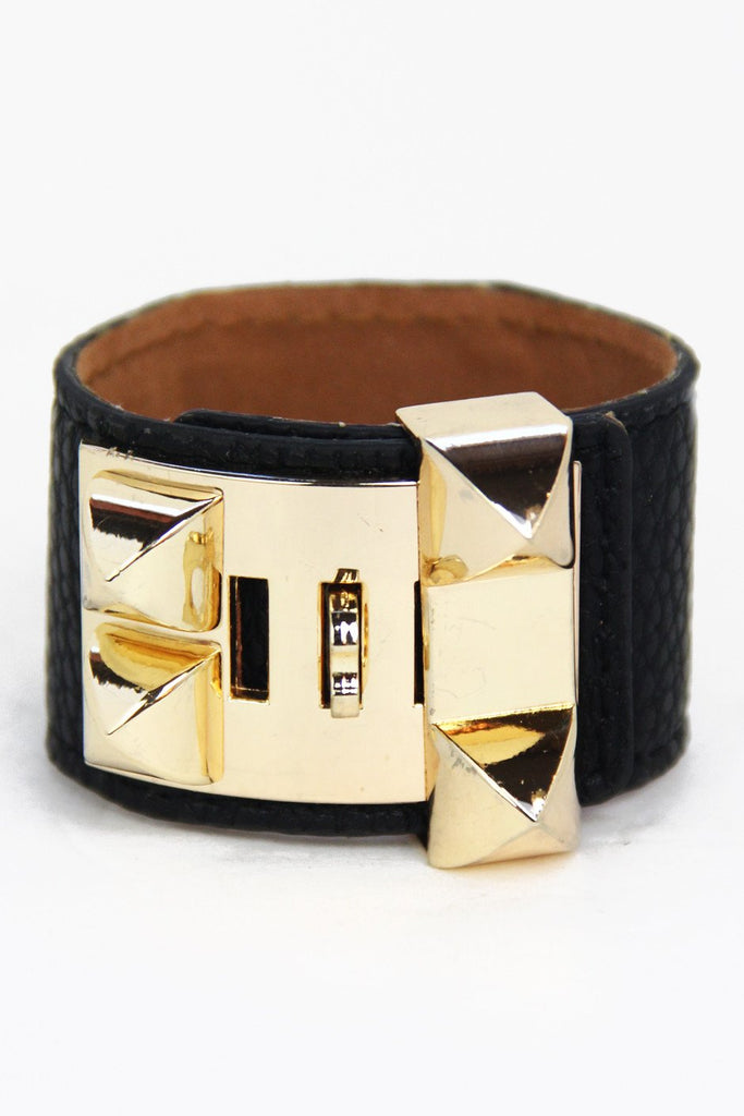 DOUBLE BUCKLE LEATHER BRACELET - Black