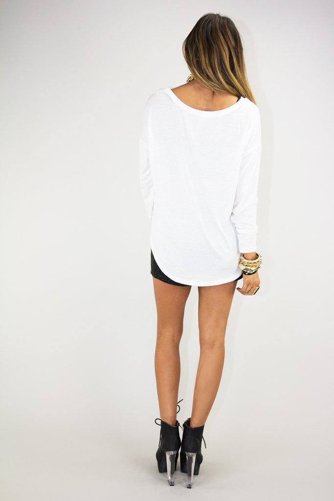 CHANEL & SKULL LONG SLEEVE TOP - White