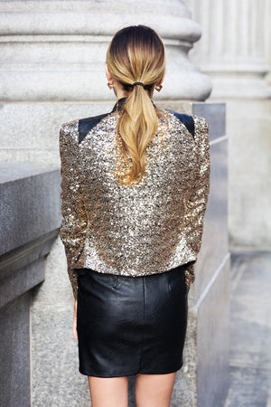 GOLD SEQUIN JACKET WITH LEATHER PATCHES - Haute & Rebellious