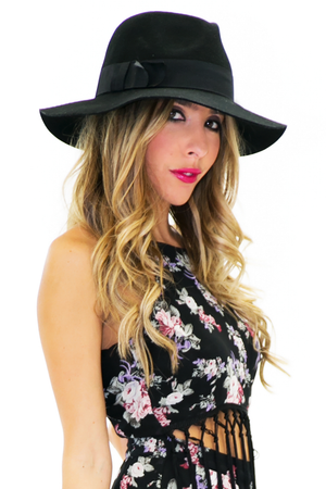 LONG BRIM WOOL STITCHED FEDORA - Black - Haute & Rebellious