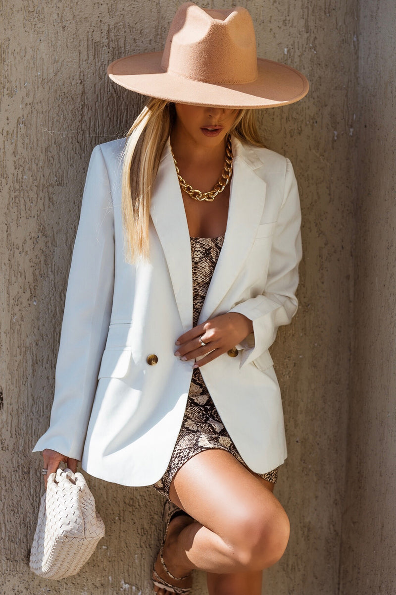 Button-Up Blazer - White