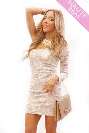 Haute & Rebellious ONE SHOULDER NUDE CONTRAST DRESS in [option2]