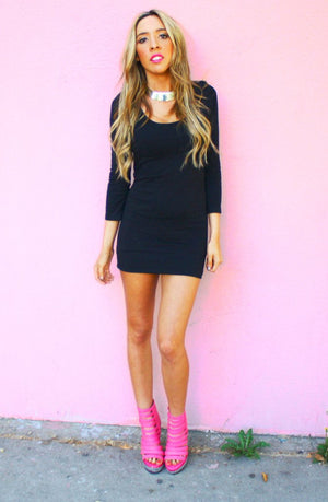 BASIC 3/4 SLEEVE BLACK DRESS - Haute & Rebellious