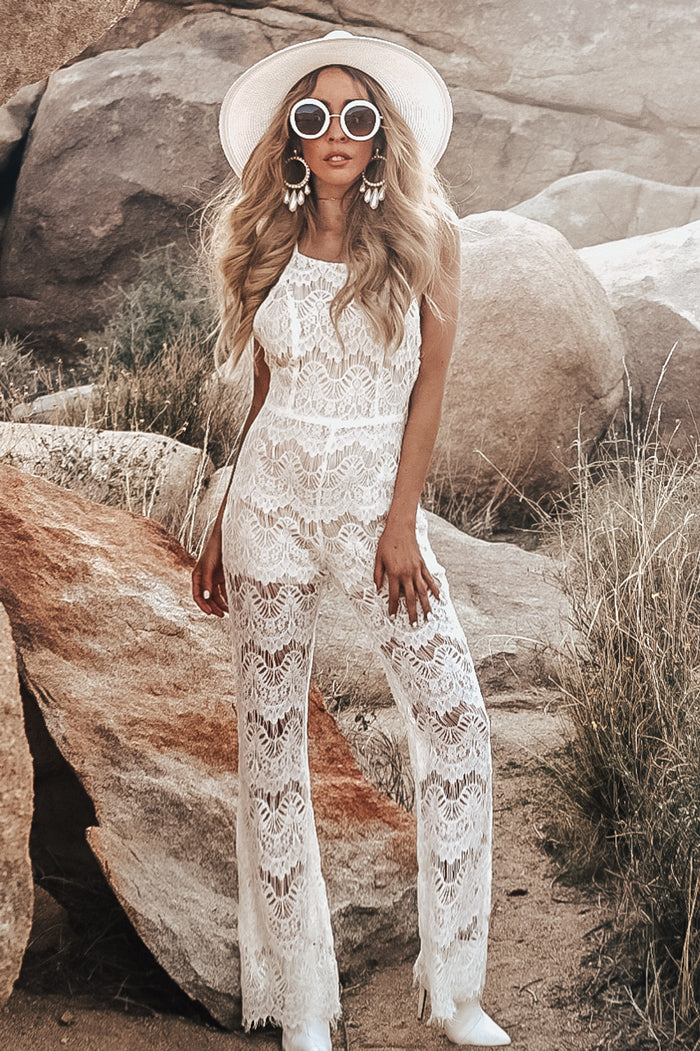 Open Back Lace Jumpsuit - White