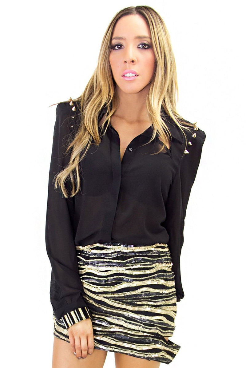 HEART & SOUL SEQUIN SKIRT - Black/Gold - Haute & Rebellious