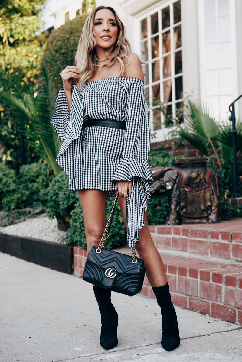 Gingham Off Shoulder Dress