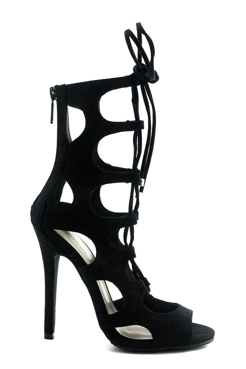 Lea Lace-Up Sandal Heel - Black - Haute & Rebellious