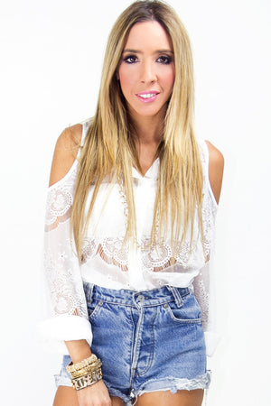 SHOULDER CUTOUT LACE BLOUSE - Haute & Rebellious