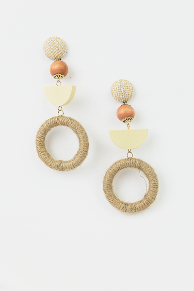 Natural Rope Dangle Hoop Earring