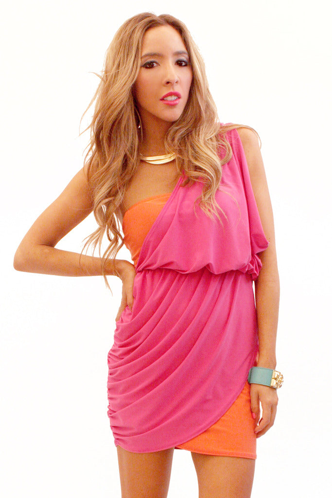 Haute & Rebellious ONE SHOULDER CONTRAST COLOR DRESS in [option2]