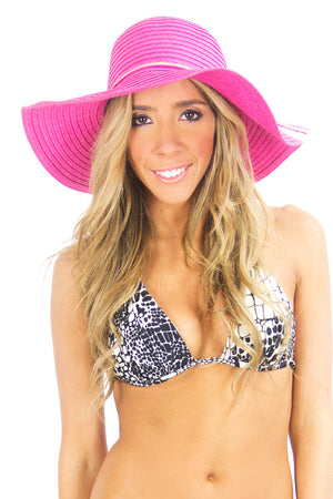 SUMMER WIDE BRIM HAT - Fuchsia - Haute & Rebellious