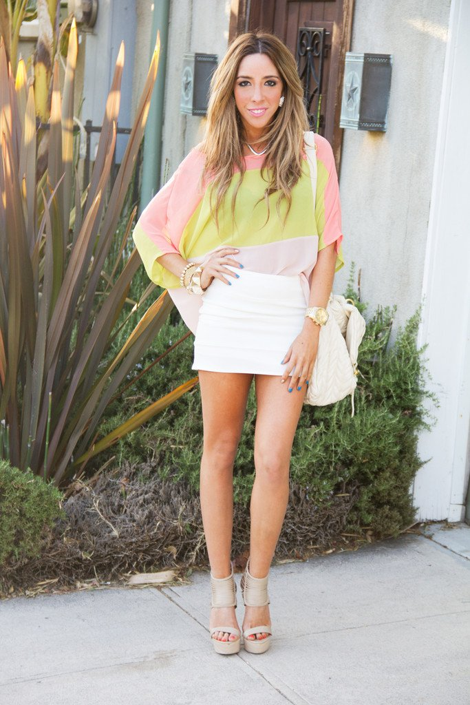 COLOR BLOCK CHIFFON BLOUSE - Lime/Peach