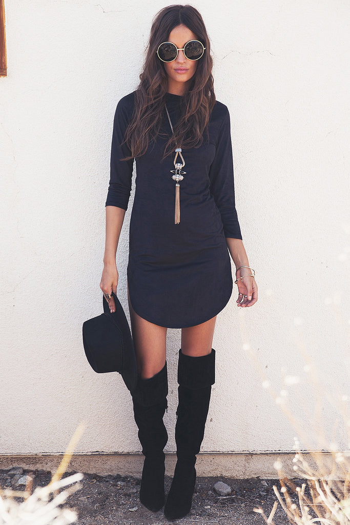 Adia Suede Shift Dress