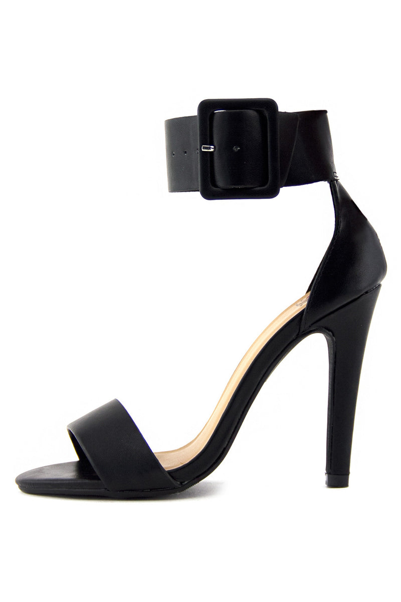 YULIA ANKLE STRAP HIGH HEEL SANDAL - Black - Haute & Rebellious