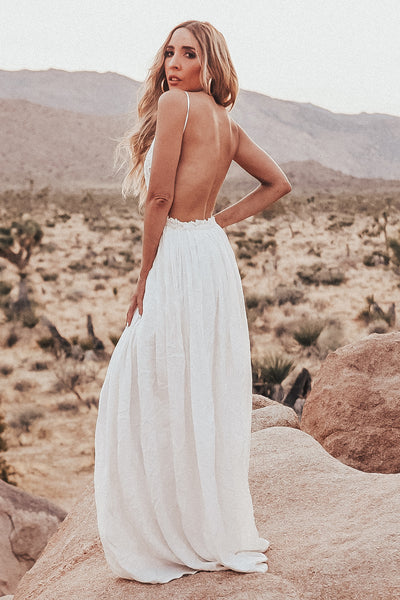 Camilla Open Back Crochet Maxi Dress - White  [PRE ORDER]