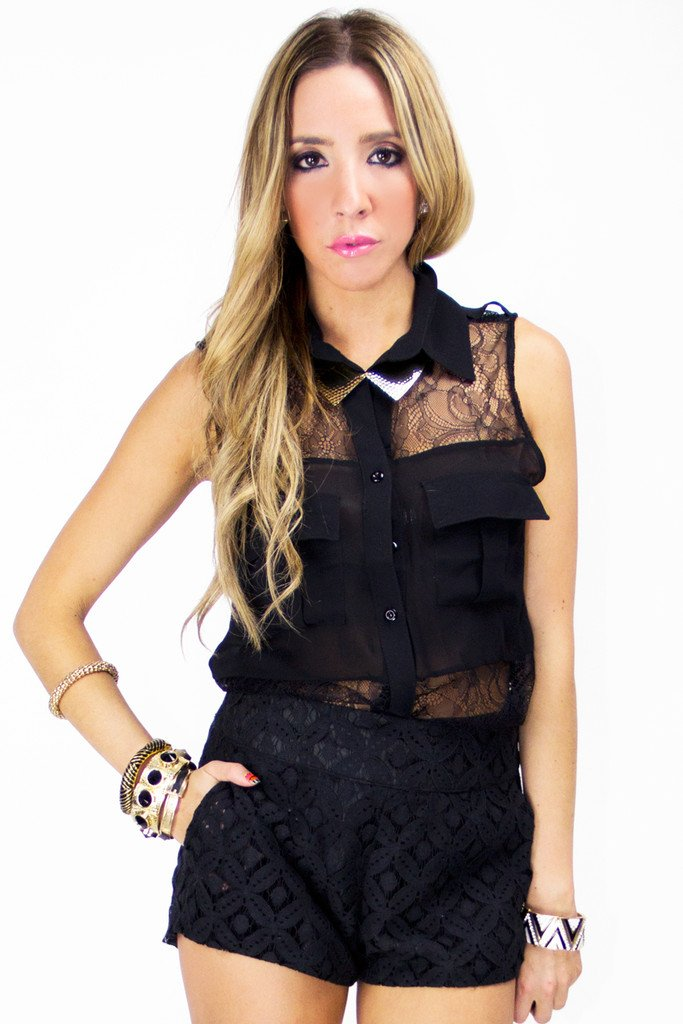 LACE CONTRAST SLEEVELESS BLOUSE - Black (Final Sale) - Haute & Rebellious