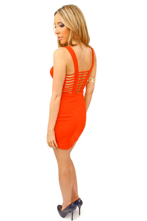 Haute & Rebellious RED CUTOUT BODYCON DRESS in [option2]